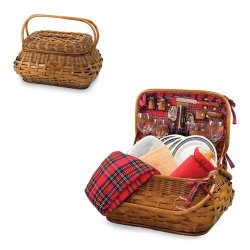Picnic Time Highlander Red Tartan St. Louis Rams Engraved Picnic Basket