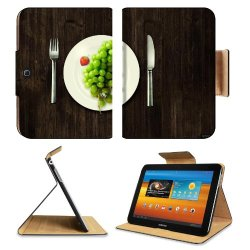 Green Grapes Fork Knife Dish Samsung Galaxy Tab 3 10.1 Flip Case Stand Magnetic Cover Open Ports Customized Made To Order Support Ready Premium Deluxe Pu Leather 9 7/8 Inch (250Mm) X 7 1/4 Inch (183Mm) X 11/16 Inch (17Mm) Luxlady Galaxy Tab3 Cases Tab_10.