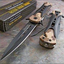 Tac-Force Desert Camo Dagger Glass Breaker Belt Cutter Knife
