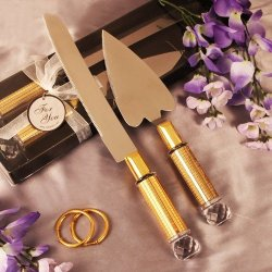 Gold Diamond Heart Shaped Cake Server And Cake Knife Set Party Supplies