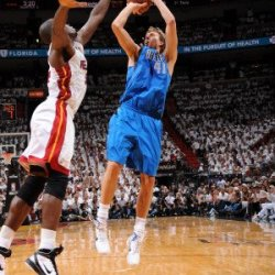 Dallas Mavericks V Miami Heat - Game One, Miami, Fl - May 31: Dirk Nowitzki And Joel Anthony Photographic Poster Print By Andrew Bernstein, 8X12