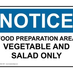 Compliancesigns Aluminum Osha Notice Sign, 7 X 5 In. With Food Prep / Kitchen Safety Info In English, White