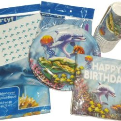 Dolphin Ocean Sealife Birthday Party Supplies - Plates, Napkins, Cutlery, Cups, Tablecover & Hershey Kiss Labels