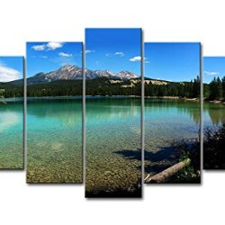 Blue 5 Piece Wall Art Painting Jasper National Park Lake Clear Water Mountain Trees Pictures Prints On Canvas Landscape The Picture Decor Oil For Home Modern Decoration Print For Bedroom