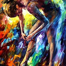 Xm Art-Girl Tie Her Shoes Palette Knife Landscape Oil Painting On Canvas Wall Art Deco Home Decoration(Unstretch And No Frame)