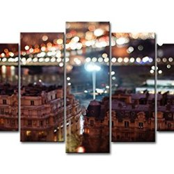 5 Piece Wall Art Painting Buildings In The Night Pictures Prints On Canvas City The Picture Decor Oil For Home Modern Decoration Print For Bedroom