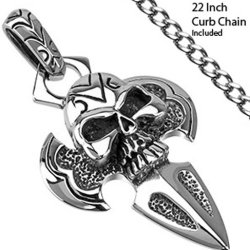 Large Skull Head Dagger Shaped Cross Pendant With 22 Inch Chain Necklace