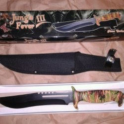 Jungle Fever Iii Camo Combat Survival Hunting Bowie Knife 18432Ca