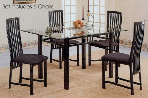 Image of 7pc Glossy Black Metal Glass Top Dining Room Table Chairs Set (VF_dinset-2776-2880)
