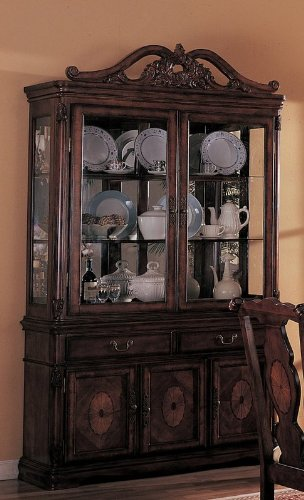Image of China Cabinet Buffet Hutch with Carved Detail Brown Finish (VF_3646)