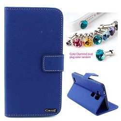 Cocoz® Huawei Mate 7 Case_1Simple And Elegant - Fashion Pu Leather Wallet Flip Case Skin Cover With Stand With Credit Card Holder Slots Case For Huawei Ascend Mate 7 Smart Phone (Blue)