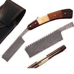 Custom Made Damascus Steel Straight Razor W/ Camel Bone & Wood Handle W/Sheath (Limited Edition)