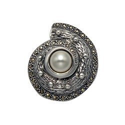 Sterling Silver Nautilus Pin With Marcasite & Pearl