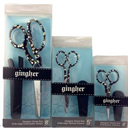 """Fiskars Gingher Designer Series Eve Limited Edition Scissor Set 4"""" And 5"""" And 8"""" Right Hand"""