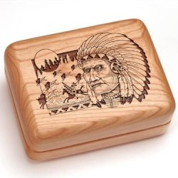 "3X4"" Box With Money Clip/Pocket Knife - Indian & Buffalo"