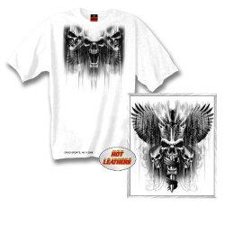 Hot Leathers Skull Dagger Double Sided Biker T-Shirt (White, Xxx-Large)
