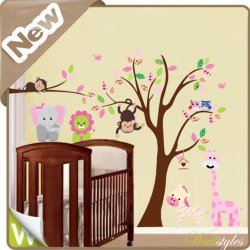 Jungle Animals Tree Lion Giraffe Monkey Owl Wall Stickers Art Decal Baby Nursery [Top-Me]-216