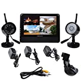 "AGPtek 7"" TFT-LCD Surveillance Monitor Wireless 4 Channel Quad DVR 2 Cameras For Home Outdoor Office Room Security System"