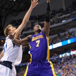 Los Angeles Lakers V Dallas Mavericks - Game Four, Dallas, Tx - May 8: Lamar Odom And Dirk Nowitzki Photographic Poster Print By Noah Graham, 8X12