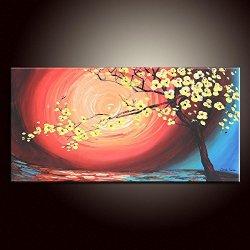 Fine Art Artwork Unframed Knife Painting Palette Knife Modern Home Decor Art On Canvas Blooming Tree 10X20 In/25X50Cm