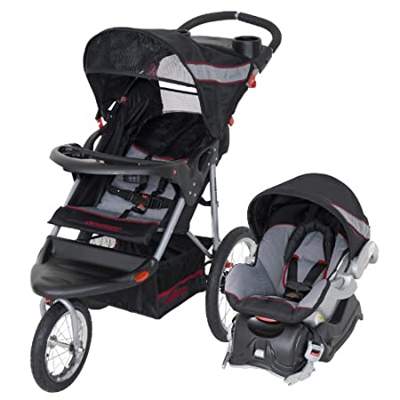 The Baby Trend Expedition Travel System comes complete with the Expedition Baby Trend 3 Wheel Jogging Stroller and the Baby Trend Flex Lock 5-30 pound infant car seat with lock in car base.  The stroller features a lockable front swivel wheel for jog...