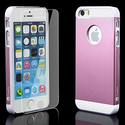 Iphone 5 5S Case Pink + Glass Screen Protector Pink Bundle Combo For Iphone 5 5S: Amplim Pink Aluminum Metal Iphone 5 5S Case (7H Hardness, Pink) Plus Iphone 5 5S Scratch Proof Glass Screen Protector [Alloy Iphone 5 5S Case Cover Pink]