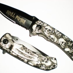 Black Zombie Skull Fucker Grip Handle Assisted Opening Rescue Pocket Knife
