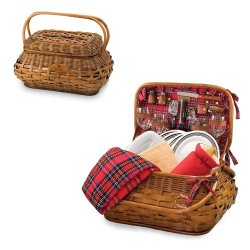 Nfl Highlander Red Tartan Engraved Picnic Basket Nfl Team: Tennessee Titans