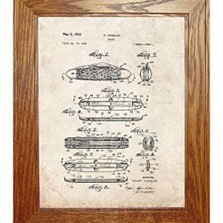 """Knife Patent Art Old Look Print In A Honey Red Oak Wood Frame (16"""" X 20"""")"""