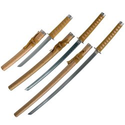 Whetstone Cutlery Golden Dragon Samurai Sword Set Of 3 With Stand, Brown