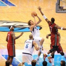 Miami Heat V Dallas Mavericks - Game Three, Dallas, Tx -June 5: Dirk Nowitzki And Chris Bosh Photographic Poster Print By Noah Graham, 8X12