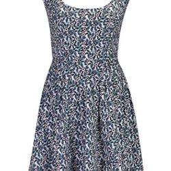 Eshakti Women'S Cutout Back Floral Print Dress Xs-0 Short White/Plum/Blue