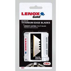 Lenox Tools Utility Knife Blades, Titanium-Coated, 50Pack (20351Gold50D)
