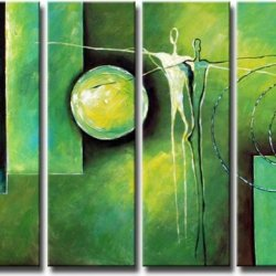 Sangu Wood Framed Green Towers Abstract Home Decoration Modern Oil Painting Gift On Canvas 4-Piece Art Wall Decor