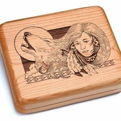 "5X6"" Box With Double Pocket Knives - Wolf Maiden"