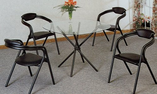 Image of 5pc Modern Tube Glass Top Dining Room Table Chairs Set (VF_dinset-2043-2935)