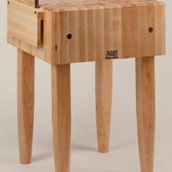 """Pro Chef Prep Table With Butcher Block Top Casters: Not Included, Size: 24"""" W X 24"""" D"""
