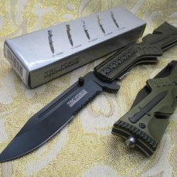 Tac-Force Assisted Opening Linerlock Army Green A/O Speed Rescue Glass Breaker Knife