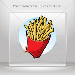 Stickers Decal French Fries Decoration Motorbike Bicycle Vehicle Atv Car Lap (3 X 2.60 In)