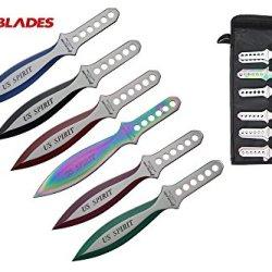 "Swordmaster - 9"" 12 Pcs Set Us Spirit Throwing Knife Thrower With Sheath Multi Color"