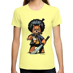 Society6 Women'S Bo Plushy Gangsta Machete T-Shirt Small Lemon