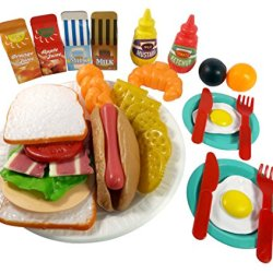 Sandwich Fast Food Cooking Play Set For Kids - 33 Pieces (Sandwich, Hotdog, Crackers, & More)