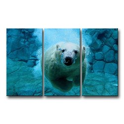 3 Piece Blue Wall Art Painting Diving Polar Bear Prints On Canvas The Picture Animal Pictures Oil For Home Modern Decoration Print Decor