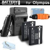 2-Pack-Battery-And-Charger-Kit-Bundle-For-Olympus-TOUGH-TG-1-iHS-TG-2-iHS-TG-2iHS-TG-3-TG-4-Waterproof-Digital-Camera-Includes-2-Replacement-1500Mah-LI-90B-LI-92B-Batteries-Charger-More