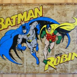 Batman And Robin Weathered Panels Distressed Retro Vintage Tin Sign