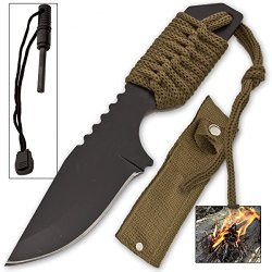 Olive Green Fire Starter Survival Knife With Belt Sheath