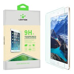 Lention Clear Tempered Glass Screen Protector【For Ipad Air / Air 2 】【No Bubble】 Hd Ultrathin Superhard 9H 【Shatterproof 】Anti-Scratch Hydrophobic Oleophobic