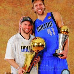 Dirk Nowitzki Jj Barea Dallas Mavericks 2011 Nba Finals Photo 8X10
