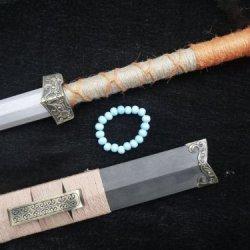 Chinese Han Jian/Pattern Steel Eight Blade/Black Wood Scabbard/Handmade Sword