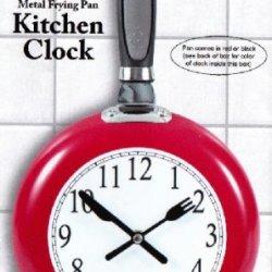 Metal Frying Pan Kitchen Clock (Red)